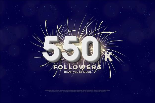 550.000 follower hintergrund mit 3d-zahlen und feuerwerk dahinter