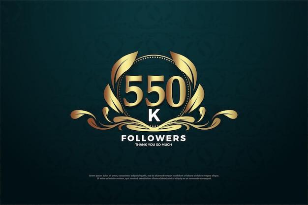 550.000 follower hintergrund mit flachem nummerndesign