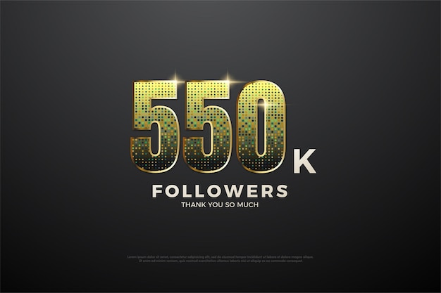 550.000 follower hintergrund mit glitzerzahlen