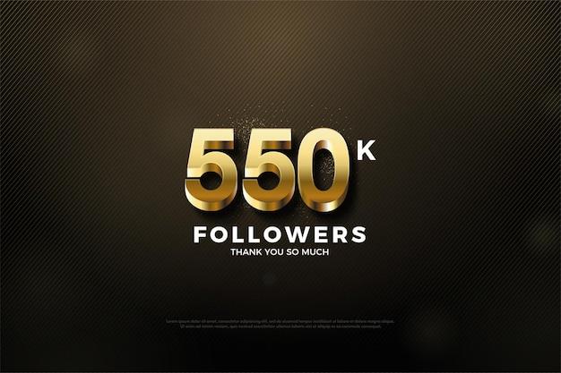 550.000 follower-hintergrund mit goldenem luxus, der es einhüllt