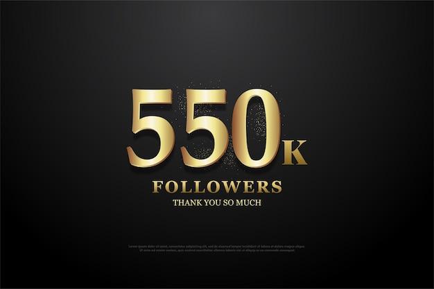 550.000 follower hintergrund mit goldenen zahlen