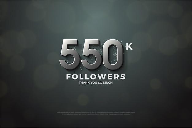 550.000 follower hintergrund mit silbernen 3d-zahlen