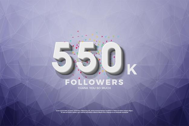 550.000 follower hintergrund mit zahlen auf kristallpapierhintergrund