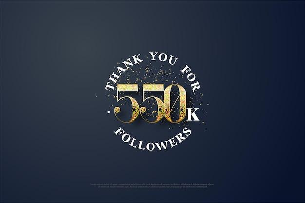 550.000 follower hintergrund mit zahlen aus glitzer