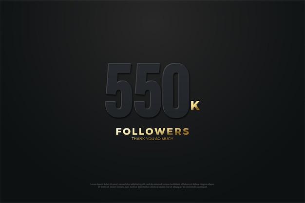 550.000 follower hintergrund mit zahlen im dunkeln