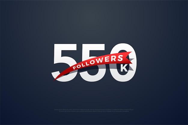 550.000 follower mit spitz zulaufenden roten zahlen und bildern