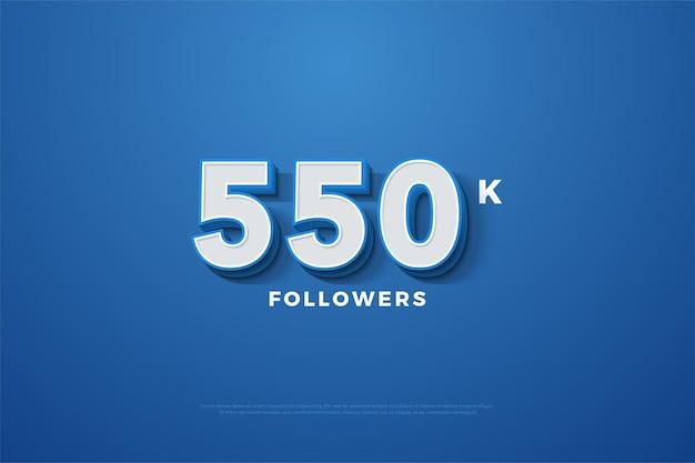 550k follower-hintergrund mit geprägten 3d-nummern