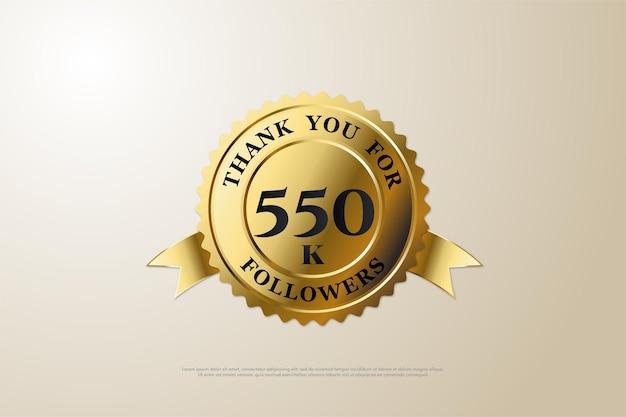 550k follower-hintergrund mit zahlen und gold-touch