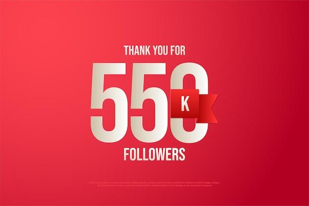 550k follower hintergrund mit zahlen und rotem band