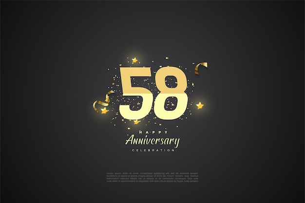 58-jähriges jubiläum mit farbverlaufsillustration