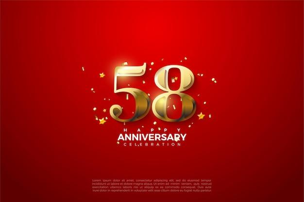 58. jubiläum mit goldener zahlenabbildung