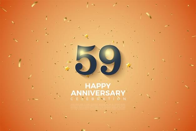 59-jähriges jubiläum mit leuchtenden zahlen