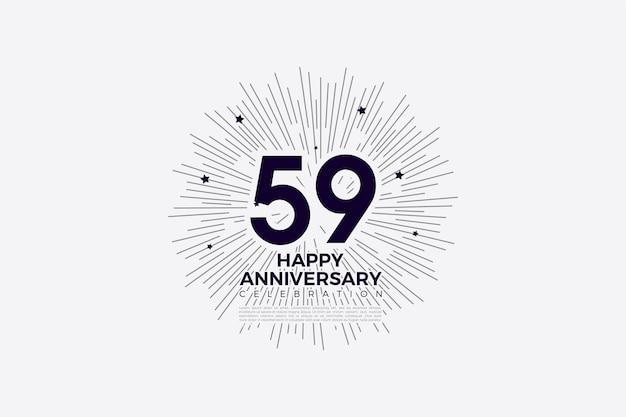 59-jähriges jubiläum mit schwarz auf weißer illustration