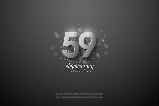 59-jähriges jubiläum mit silbernen zahlen
