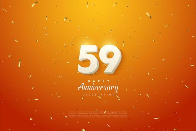 59. jahrestag mit einfarbigen weißen zahlen auf orangem hintergrund