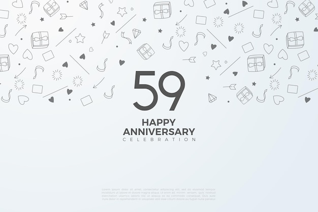 59. jahrestag mit zahlen auf weißem papier
