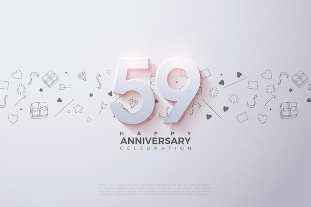 59. jubiläum mit 3d-zahlen