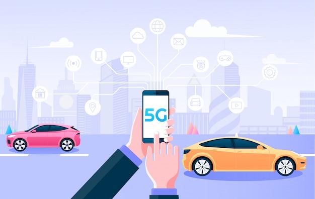 5g drahtloses netzwerk. halten sie mobile steuerungssachen durch 5g internetverbindung und smart city hintergrund. illustration.
