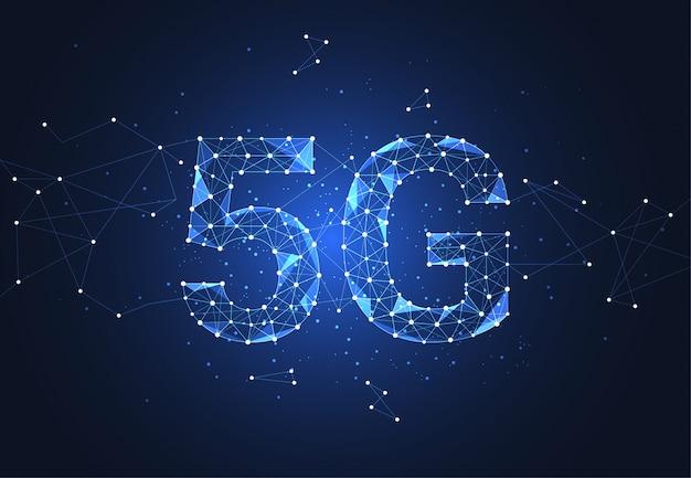 5g globale netzwerkverbindung. polygon verbinden punkt und linie