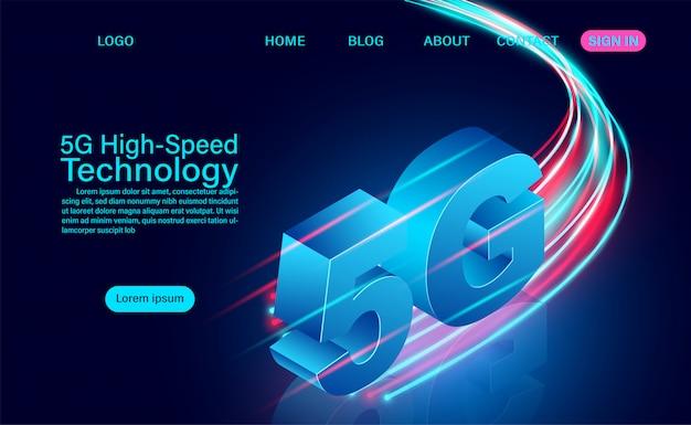 5g hochgeschwindigkeits-technologiekonzept. netzwerkkommunikation drahtloses internet. netzwerkverbindung schnellstes internet. isometrische flache entwurfsillustration