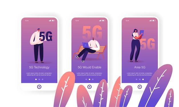 5g internet connection mobile app-seite onboard-bildschirmsatz.