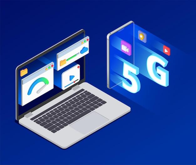 5g isometrische zusammensetzung des hochgeschwindigkeits-internets