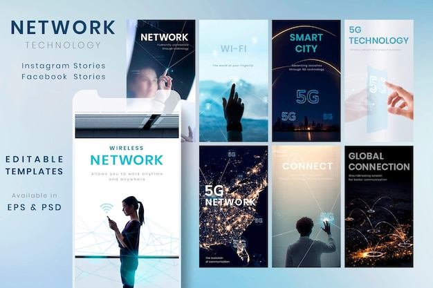 5g kommunikationstechnologie vorlage vektor futuristische social media story set