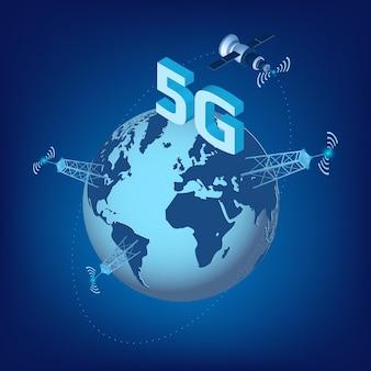 5g lte-technologie der hochgeschwindigkeits-datenübertragung mit isometrischem satelliten, der um den planeten erde und sendetürmen fliegt. gestaltungselement für website oder banner. vektor-illustration.