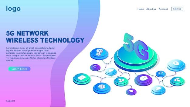 5g-netzwerk-funktechnologie mobiles internet der nächsten generation webseiten-designvorlage