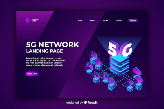 5g netzwerk isometrische landingpage