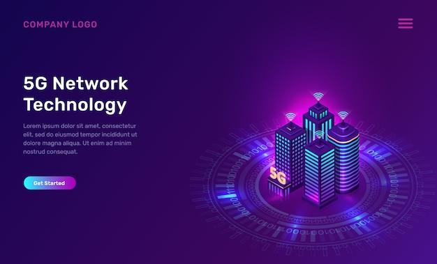 5g netzwerktechnologie, isometrisches konzept