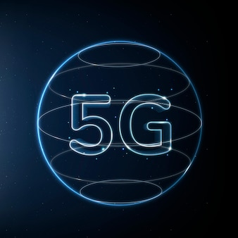 5g-netzwerktechnologie-symbol in blau auf farbverlaufshintergrund
