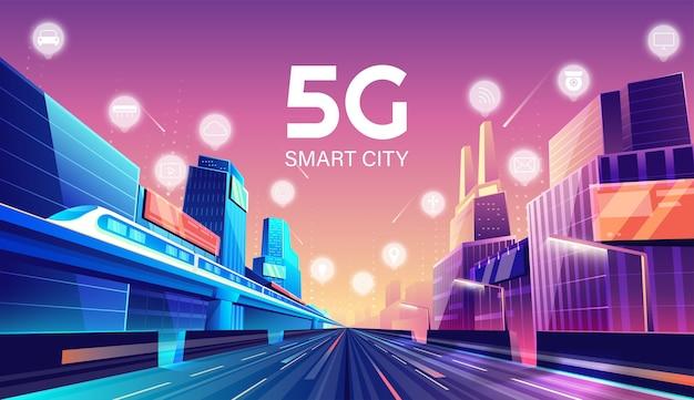 5g wireless-netzwerk und smart city-konzept. nachtstadt mit dingen und dienstleistungen symbole verbindung, internet der dinge, 5g-netzwerk drahtlos mit hochgeschwindigkeitsverbindung flaches design.