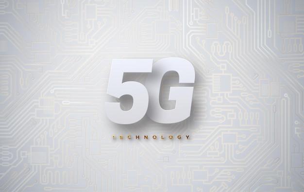 5g-zeichen auf technologiehintergrund mit leiterplattenbeschaffenheit