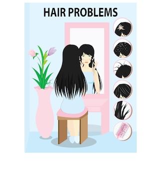 6 häufige haarprobleme mit. frau, die mit den problemen auf ihren haaren in den spiegel schaut.