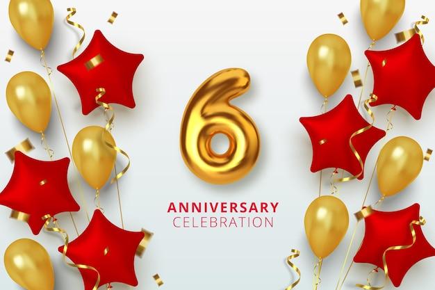 6 jubiläumsfeier nummer in form eines sterns aus goldenen und roten luftballons. realistische 3d-goldzahlen und funkelndes konfetti, serpentin.