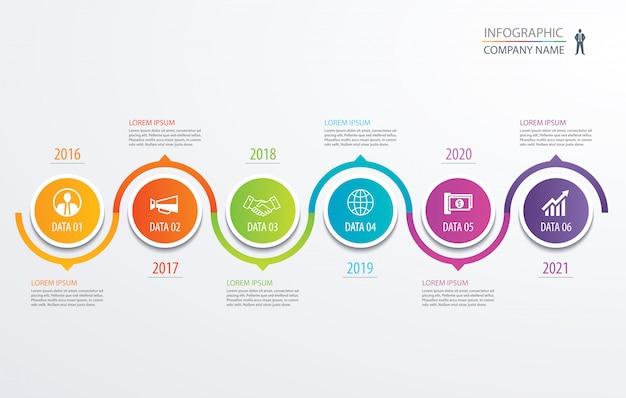 6 kreis timeline infografik vorlage geschäftskonzept