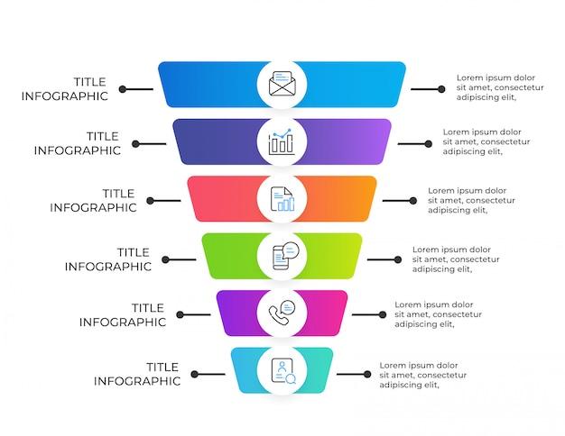 6 optionen geschäft infographik elemente