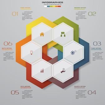 6 schritte bearbeiten design infographics element.