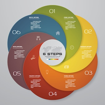6 schritte infografiken element für die präsentation.