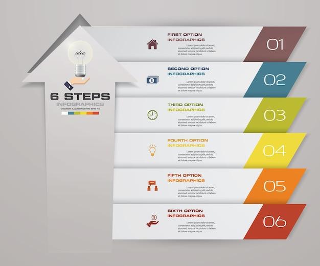 6 schritte infographics element pfeil vorlage diagramm.