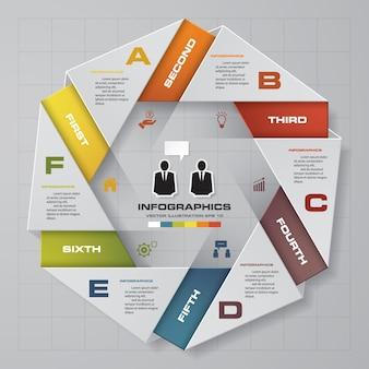 6 schritte infographics-elementdiagramm für darstellung.