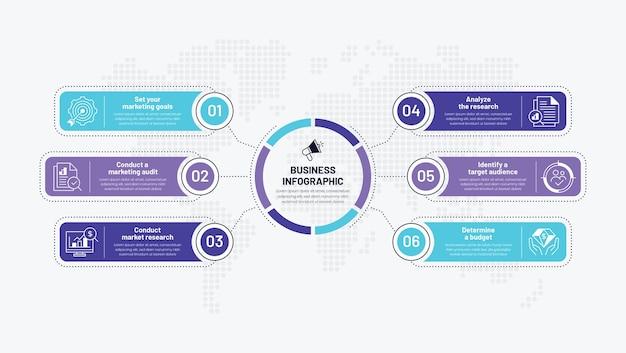6 schritte kreative infografik-designvorlage