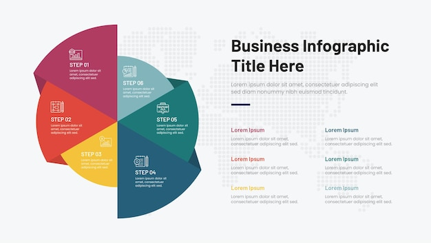 6 schritte kreativer infografik-designvektor