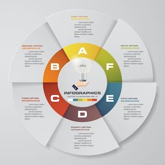6 schritte moderne kreisdiagramm infographics elemente.