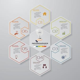 6 schritte prozess infografiken element diagramm.