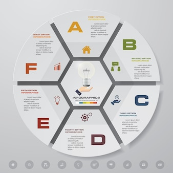 6 schritte zyklus diagramm infografiken elemente.