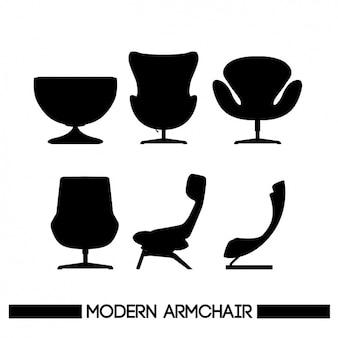 6 Silhouetten von Stühlen