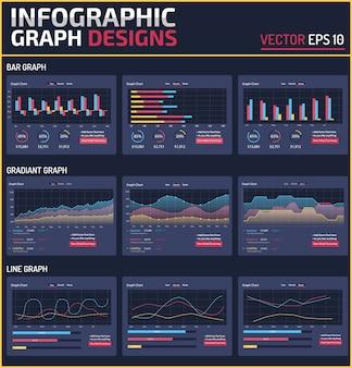 6 verschiedene infographik element graph design vektor vorlage
