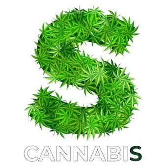 6 von 6. buchstabe s. annabis oder marihuana-blatt-logo-entwurfsschablone. hanf für emblem, logo, werbung für medizinische dienstleistungen oder verpackung. flache stilikone. isoliert